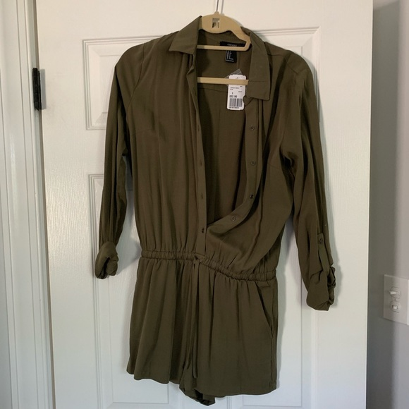Forever 21 Pants - Army green button down romper with tie waist.